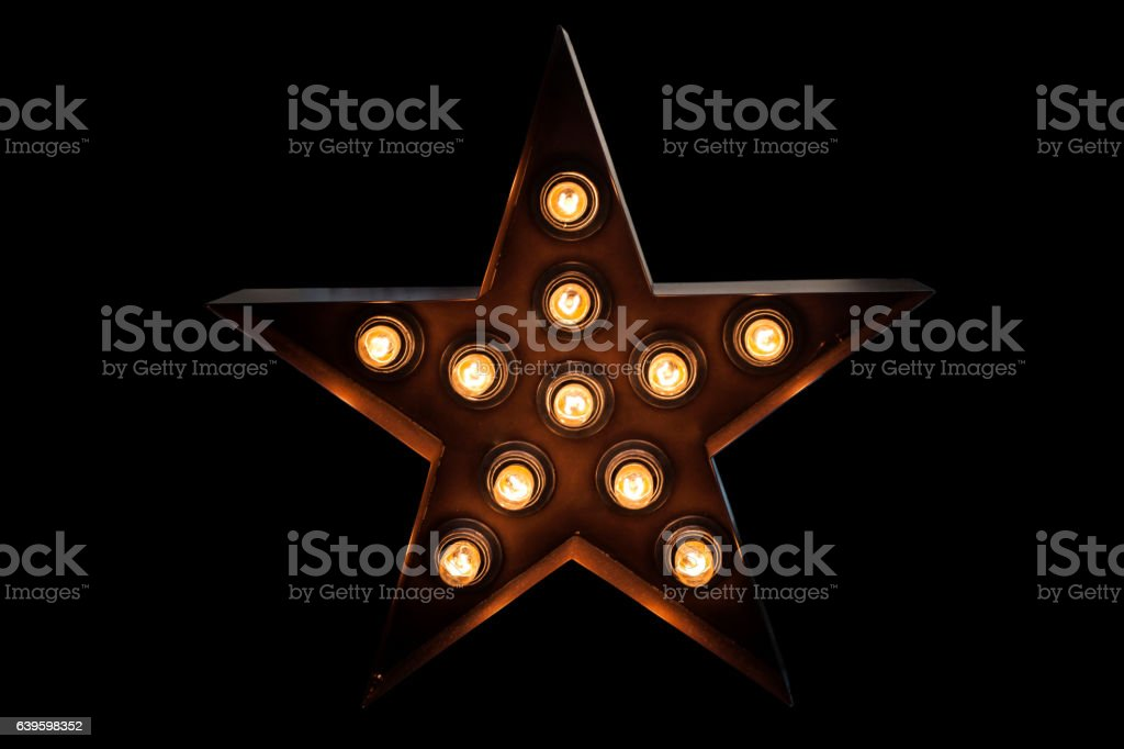 Lamp light shape star isolated on black background – Foto