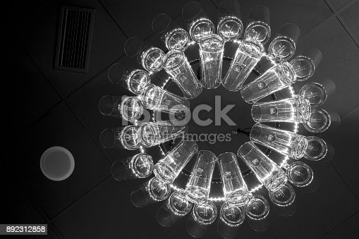istock Lamp made of beer cups. 892312858
