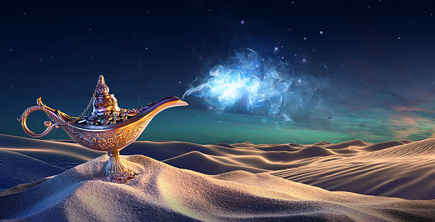lamp of wishes in the desert - ethereal stock pictures, royalty-free photos & images