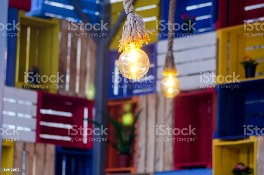 Lamp on a multi-colored background stock photo