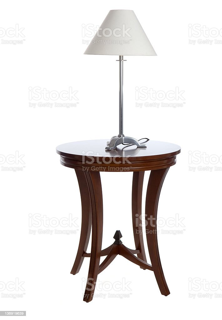 Lamp on Table (Isolated) stock photo