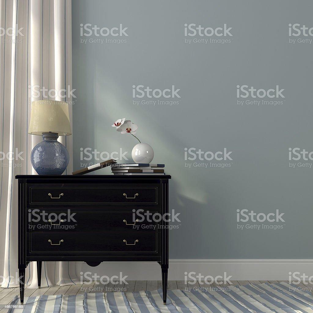 Lamp on the black dresser stock photo