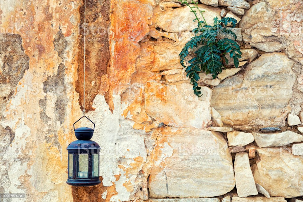 Lâmpada na parede, Grécia - foto de acervo