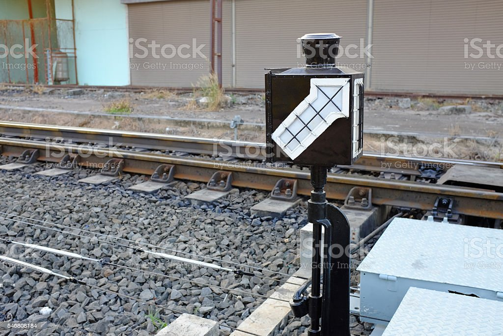 Lamp pole (signal light) in railway station stock photo