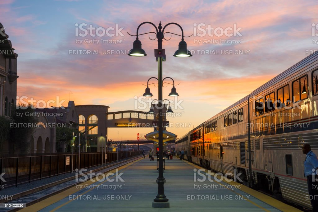 Lamp post and sunset, San Bernardino, California stock photo