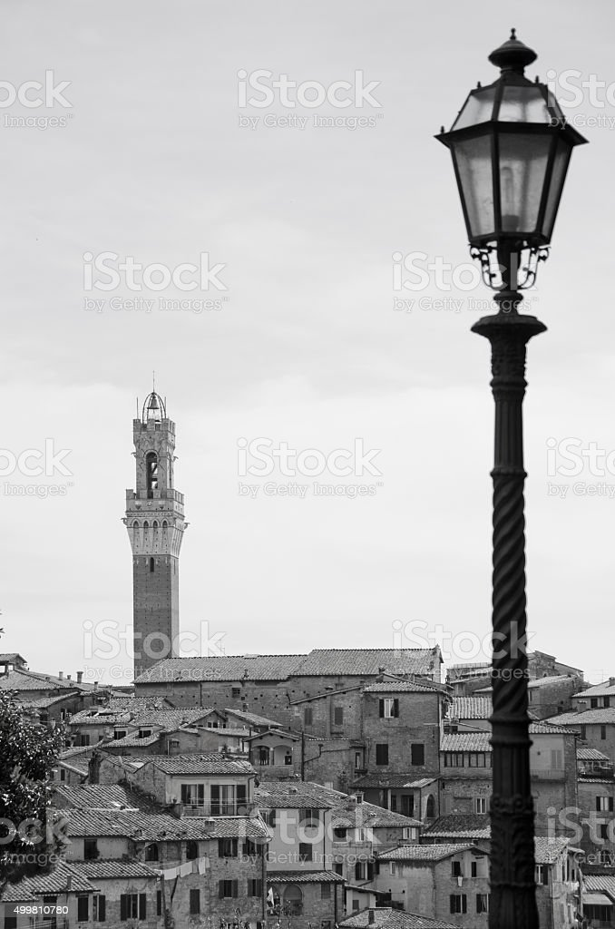 Lamp Post and Torre del Mangian in Siena, Italy stock photo