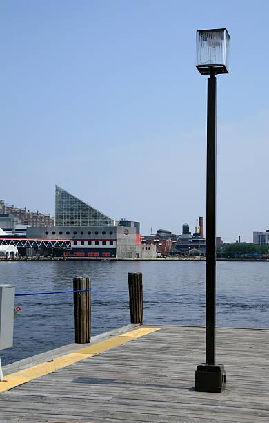 lamp post in Baltimore, MD Inner Harbor stock photo