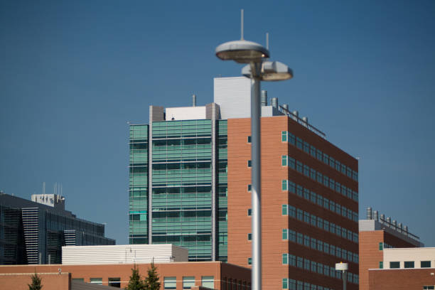Lamp Post on Campus stock photo