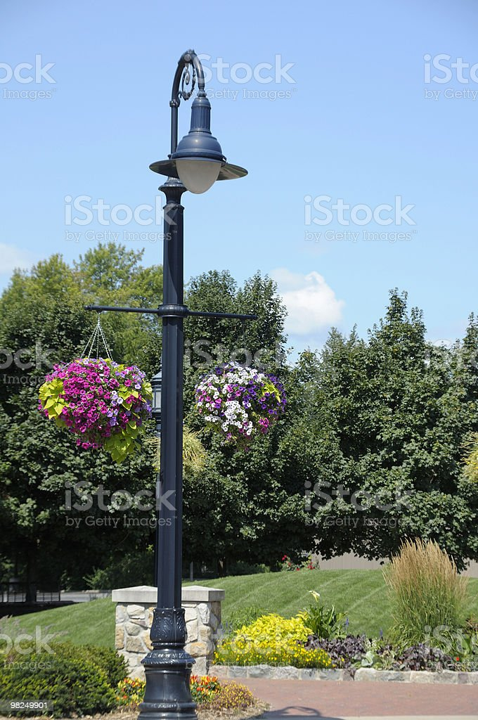 Lamp post with hanging flower baskets royalty-free stock photo
