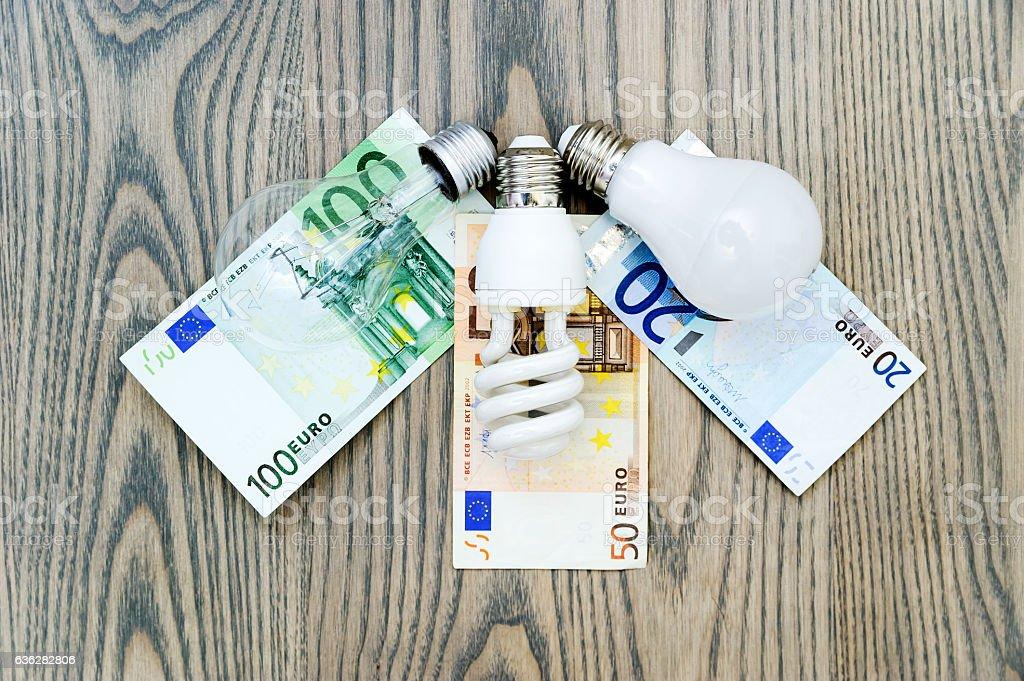 LED lamp saves money. stock photo
