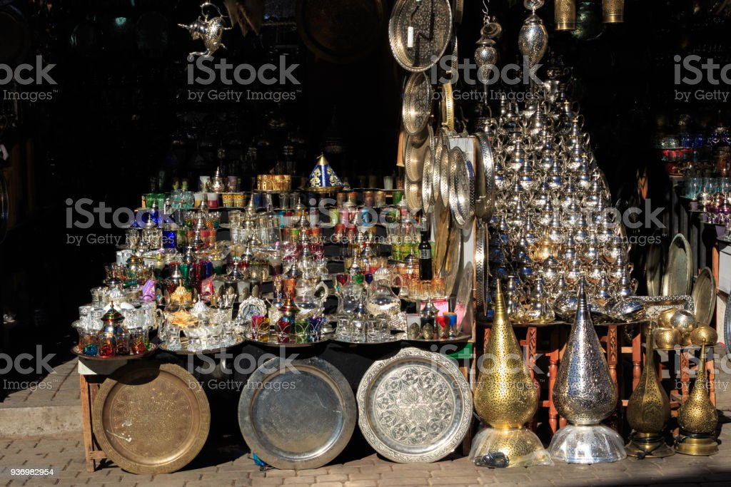 lamp store in the suq of Marrakesh stock photo