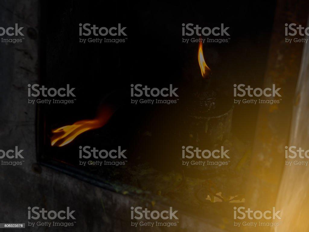 Lamp to worship the Buddha. stock photo