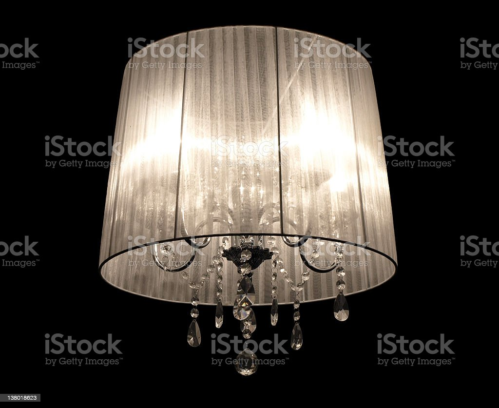 Lamp with crystals isolated on black royalty-free stock photo