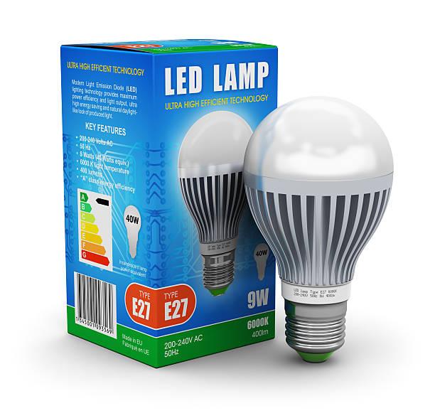 led-lampe mit-box - glühbirne e27 stock-fotos und bilder