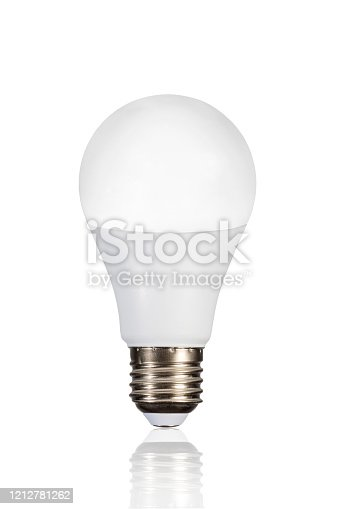 istock LED lamp with reflection isolated on white. Energy saving concept. 1212781262
