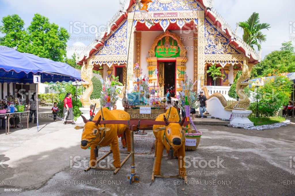 Lampang Thailand-September 20 2017 Tan Kuay Salak Festival- Northern Thai ritual that people will give foodstuff and valuable things to the temple and monks they believe it for merit who passed away. stock photo
