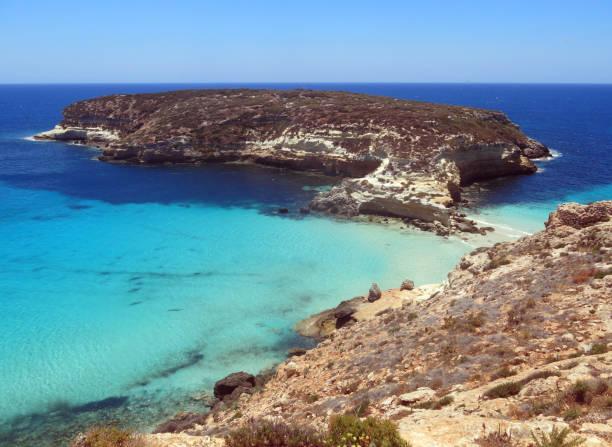 Lampedusa island in Italy and the Island called Isola dei Conigl stock photo
