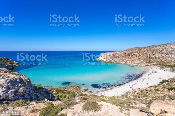 """Photo of Lampedusa Island Sicily - Rabbit Beach and Rabbit Island Lampedusa """"Spiaggia dei Conigli"""" with turquoise water and white sand at paradise beach. Mediterranean scrub with thyme and cardoon. Tabaccara Bay"""