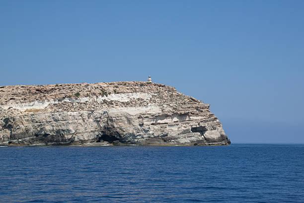 Lampedusa island, the souther italian island in the mediterranean sea stock photo