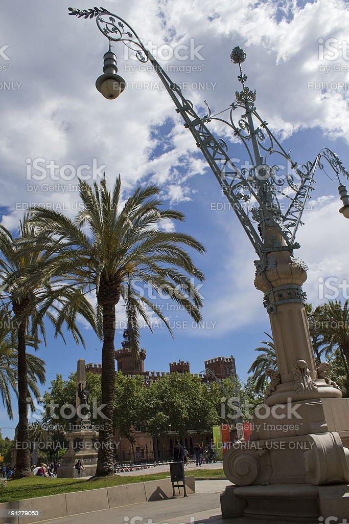 Lampost in Barcelona stock photo
