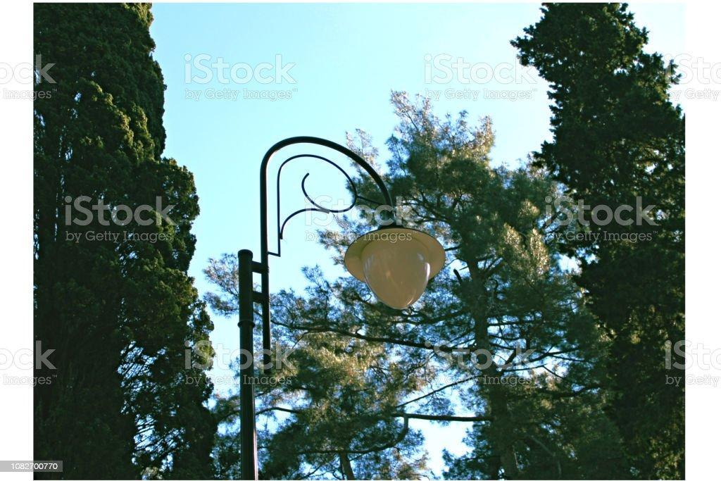 Lamppost against the sky and fir trees stock photo
