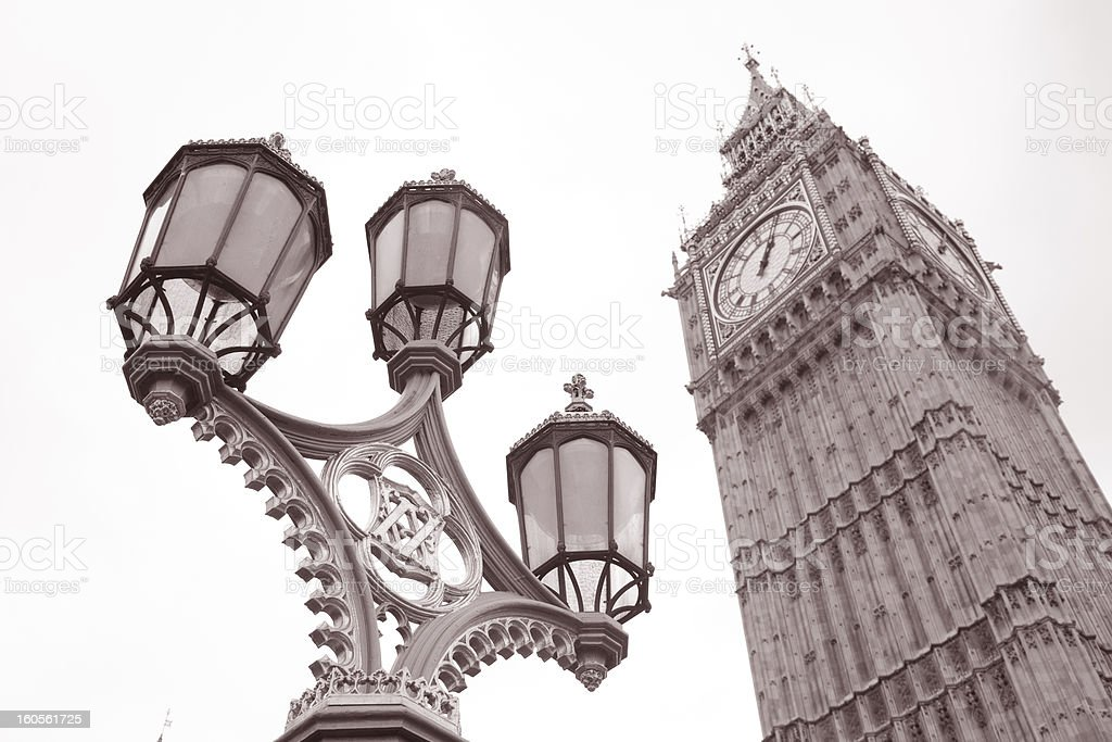 Lamppost and Big Ben at Westminster, London royalty-free stock photo