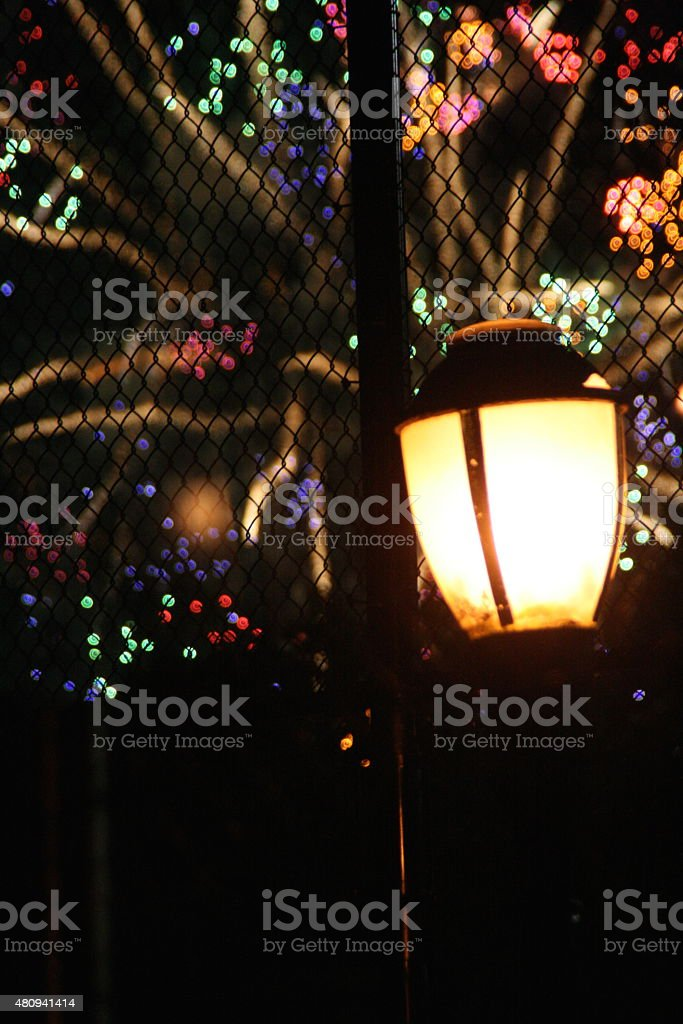 Lamppost and Firework Blast stock photo