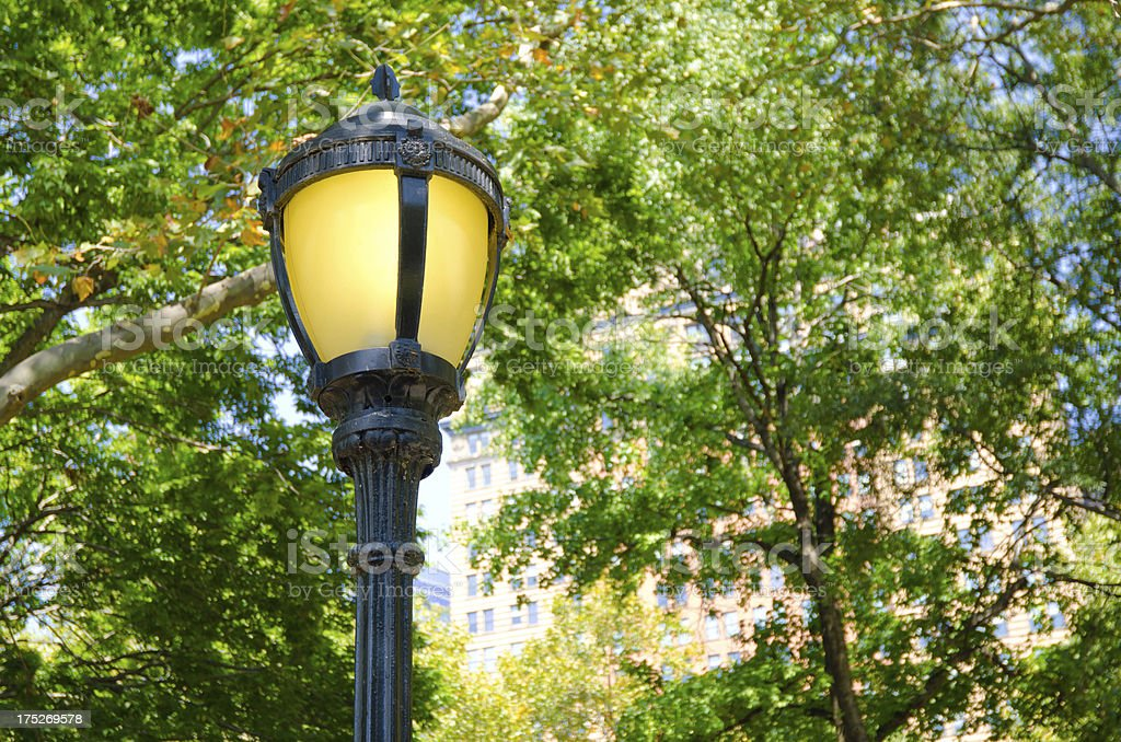 Lamppost at Battery Park in New York City royalty-free stock photo