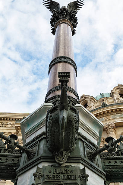 lamppost in front of the opera Garnier, Paris stock photo