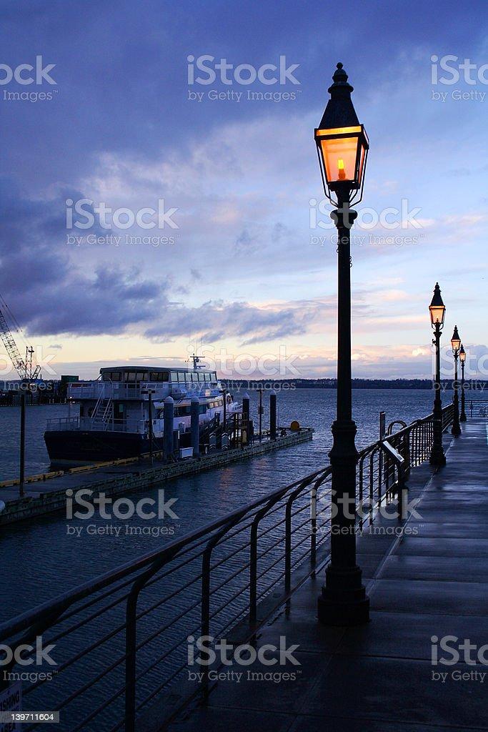 Lamppost Lighting Evening Dock stock photo