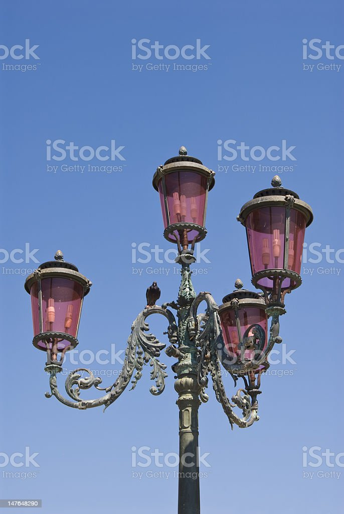Lamppost on Piazza San Marco in Venice, Italy stock photo
