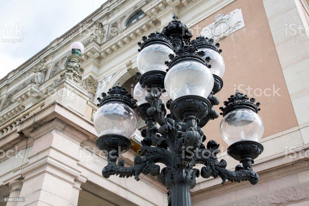 Lamppost outside Opera House, Stockholm stock photo