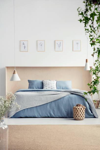lampen über blau bett mit bettwäsche und kissen im schlafzimmer innenraum mit plakaten und teppich. echtes foto - do it yourself hochbett stock-fotos und bilder