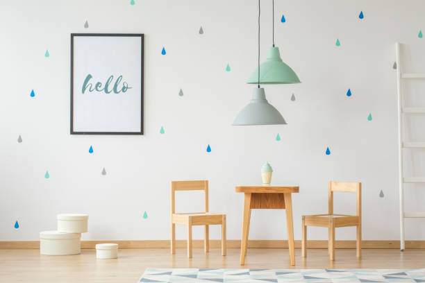 Lamps above wooden table and chairs in bright kids room interior with picture id999859024?b=1&k=6&m=999859024&s=612x612&w=0&h=h7tyllkqcsci1budwihahh c7wg7ifvdjyhl0lqygd4=