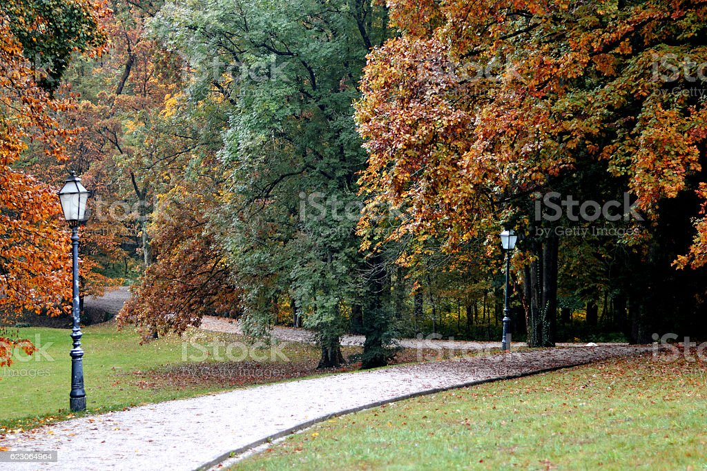 Lamps and autumn trees in Maksimir park, Zagreb, Croatia stock photo