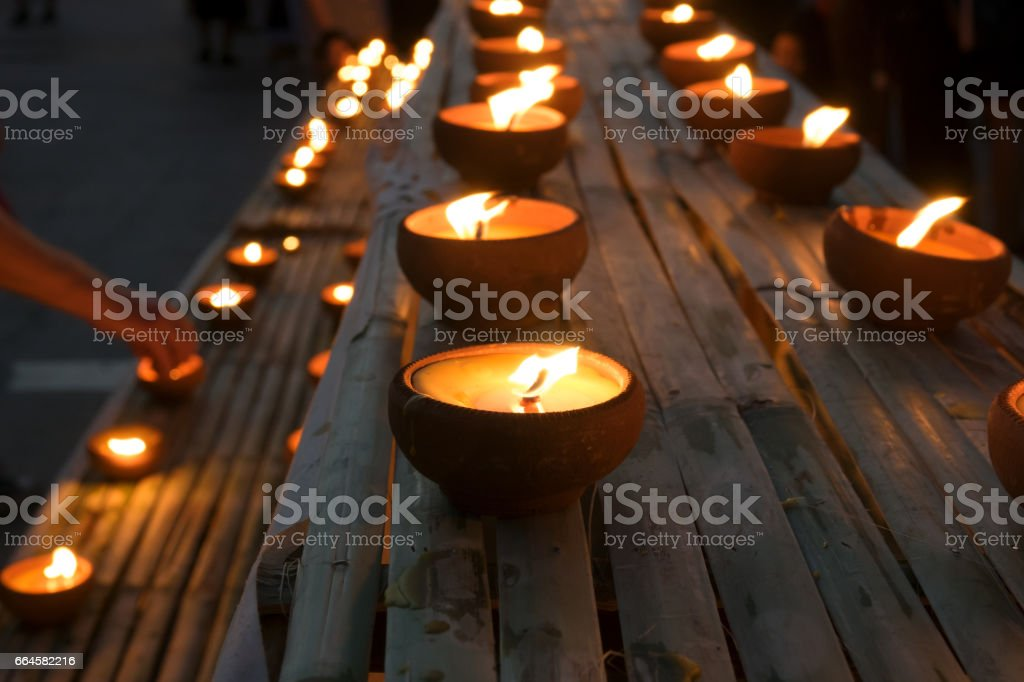 Lamps and candles used at Loy krathong festival, Night background royalty-free stock photo