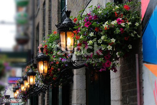 172763398 istock photo Lamps and Flowers Temple Bar Dublin Ireland 1074266238