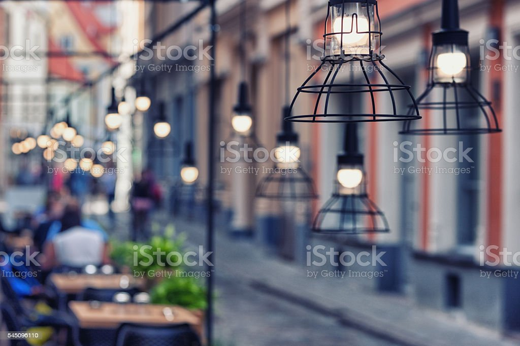 Lamps beautiful design in a restaurant on a street stock photo