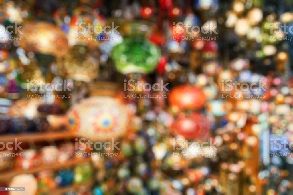 Lamps in Grand Bazaar as creative abstract blur background, Istanbul, Turkey stock photo
