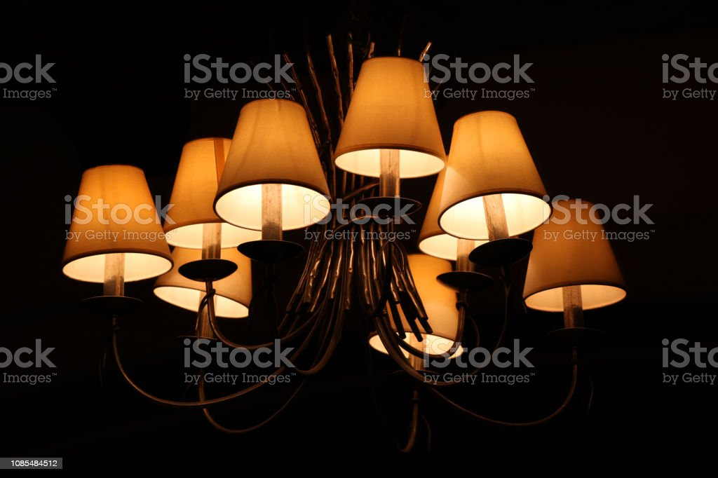 lamps in night room stock photo