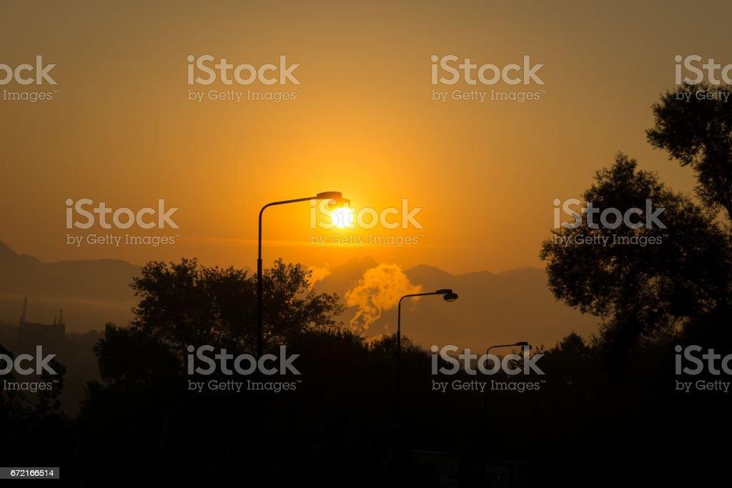 Lamps in sunrise stock photo