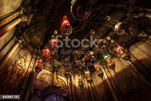istock Lamps in the Holy Sepulchre Church in Jerusalem. 640961782