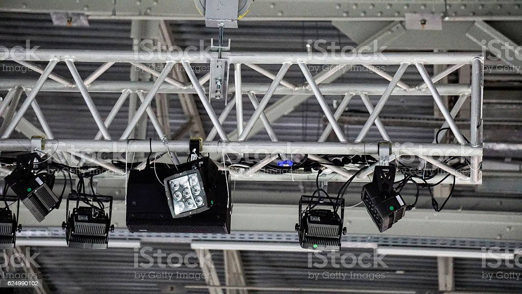 Lamps on stage, ceiling lamps, grey background, scene lamps stock photo