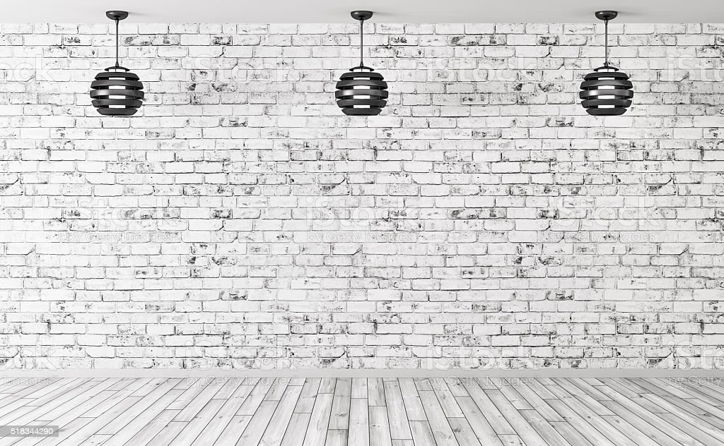 Lamps over brick wall interior background 3d render royalty free stock photo