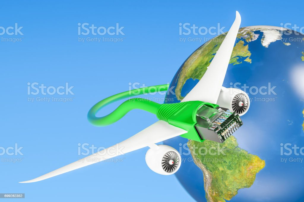 Lan cable with airplane wings, fast internet connection concept. 3D rendering stock photo