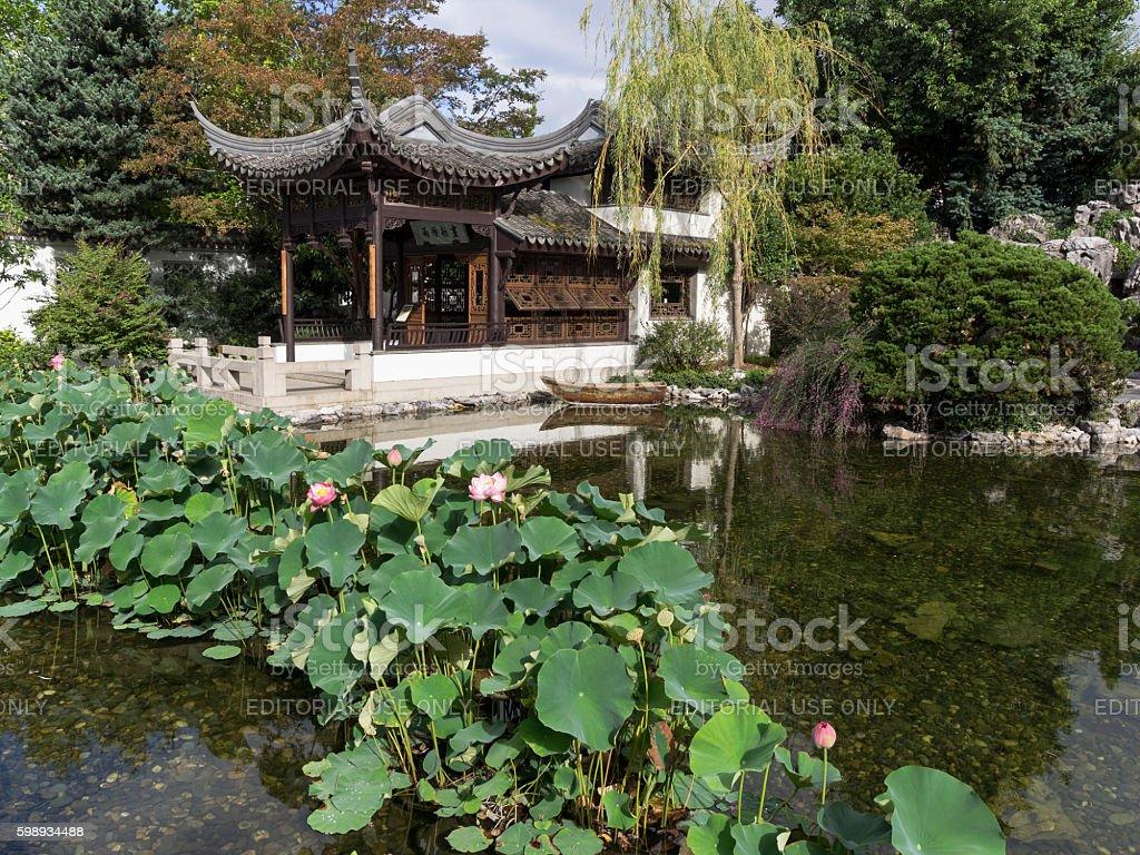 lan su chinese garden portland oregon water lotus boat pavilion royalty free stock photo - Chinese Garden Portland