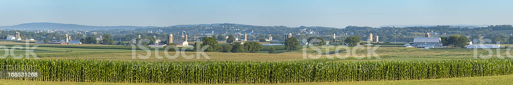 Lancaster County Farm Panorama with Corn Field and Mountains stock photo