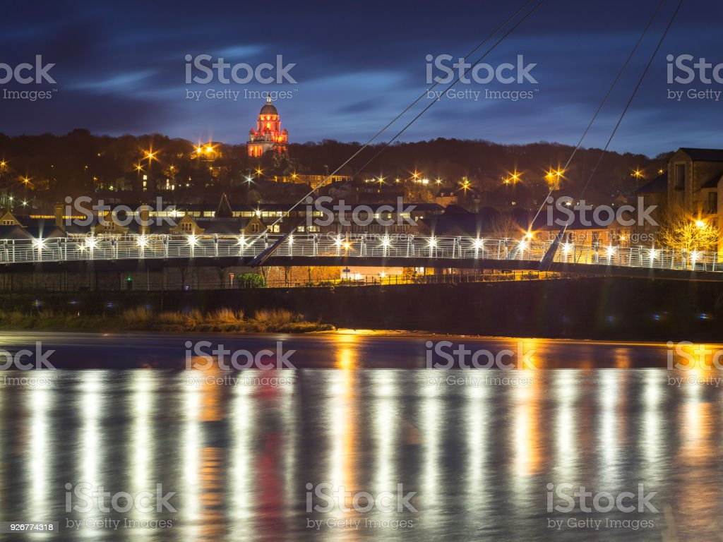 Lancaster early morning with lights reflecting in the river stock photo