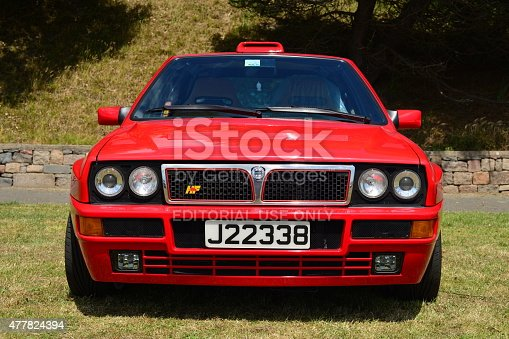 Jersey, U.K.- June 6, 2015: The Italian Lancia Delta Integrale 1980's classic car and successful rally winner in Europe, parked at West park and part of the Jersey car festival static section.