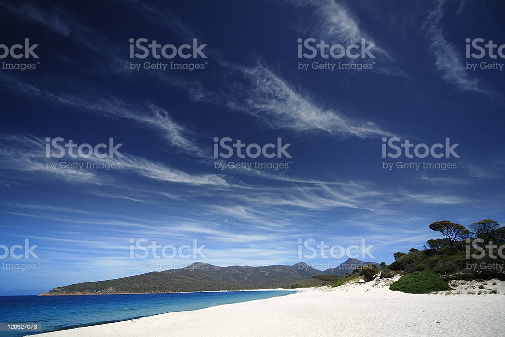 Land and seascape in Wineglass Bay in Tasmania, Australia royalty-free stock photo